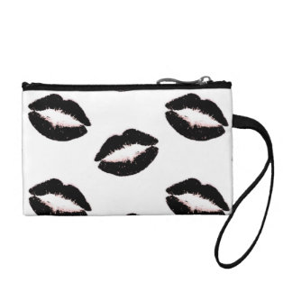 Gothic Black Lipstick Kisses Coin Purses