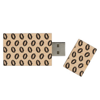 Gothic Black Lipstick Kisses Wood USB 2.0 Flash Drive