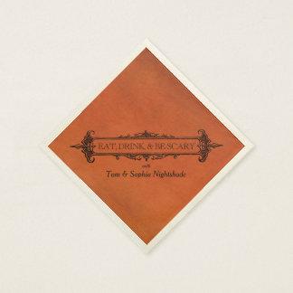 Gothic Black & Orange | Eat Drink & Be Scary Paper Napkin