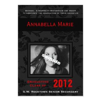 Gothic  Black & Red Floral Photo Graduation 13 Cm X 18 Cm Invitation Card