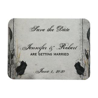 Gothic Black Rose Trellis Save the Date Rectangular Photo Magnet
