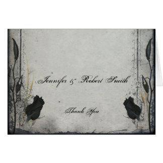 Gothic Black Rose Trellis Wedding Thank You Greeting Card