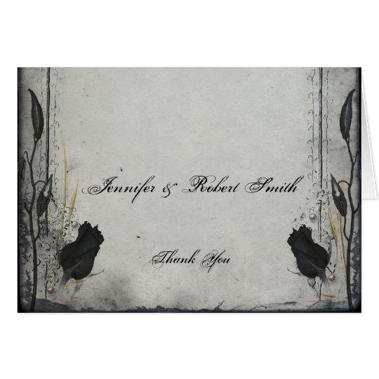 Gothic Black Rose Trellis Wedding Thank You Card