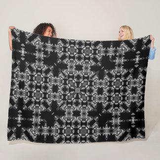 Gothic Black & Silver Silk Reaper Mandala Fleece Blanket