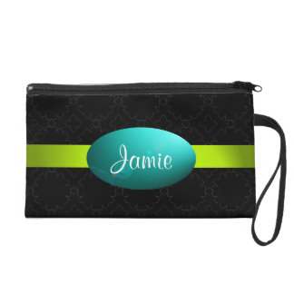 Gothic Black Turquoise Lime Bagettes Wristlet Bag