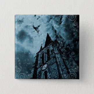 Gothic blue clocktower 15 cm square badge