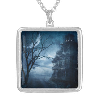 Gothic Blue Moon Haunted Mansion Silver Plated Necklace