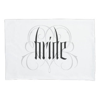 Gothic Bride Lettering Goth Vampire Lacy Heart Pillowcase