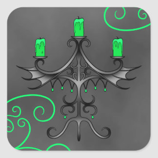 Gothic candelabra Halloween pretty green Square Sticker