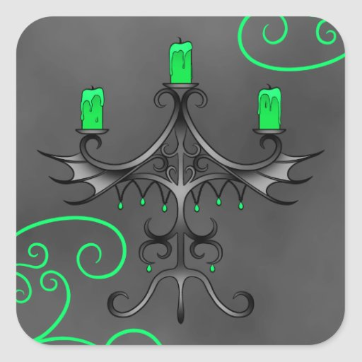 Gothic candelabra Halloween pretty green Square Stickers