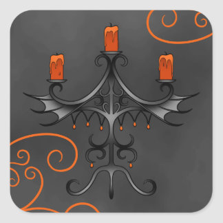 Gothic candelabra Halloween Square Sticker