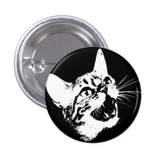 Gothic Cat Feral Evil Scary Growl Fangs 3 Cm Round Badge