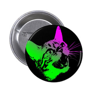 Gothic Cat Feral Evil Scary Growl Fangs 6 Cm Round Badge