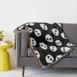 Gothic Catacomb white emoji emo skulls pattern Throw Blanket