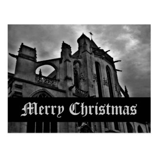 Gothic cathedral Merry Christmas Postcard