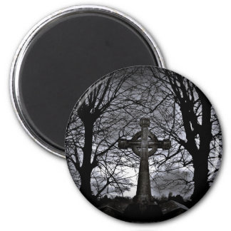 Gothic celtic cross grave 6 cm round magnet