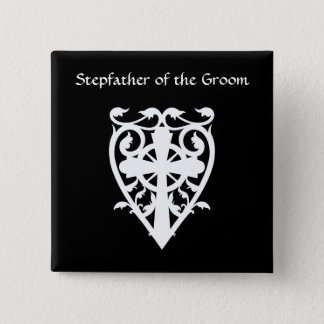 Gothic celtic cross in heart white stepfather 15 cm square badge