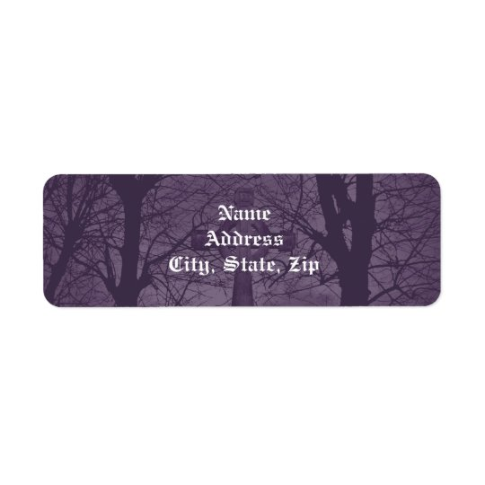 Gothic celtic cross tombstone dark and spooky return address label