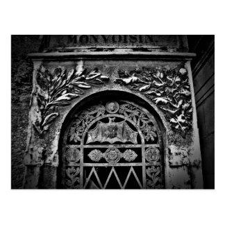 Gothic cemetery bat crypt postcard