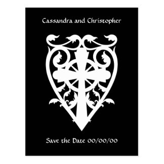 Gothic cemetery celtic cross in heart in white postcard