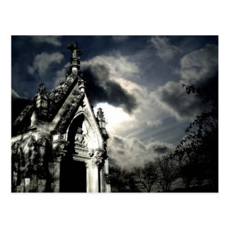 Gothic cemetery crypt beautiful scene postcard