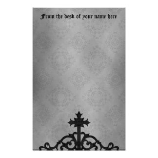 Gothic cemetery gate cross stationery