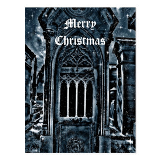 Gothic cemetery scene Merry Christmas Postcard