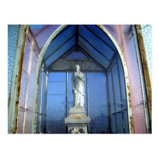 Gothic cemetery small statue in a glass crypt postcard