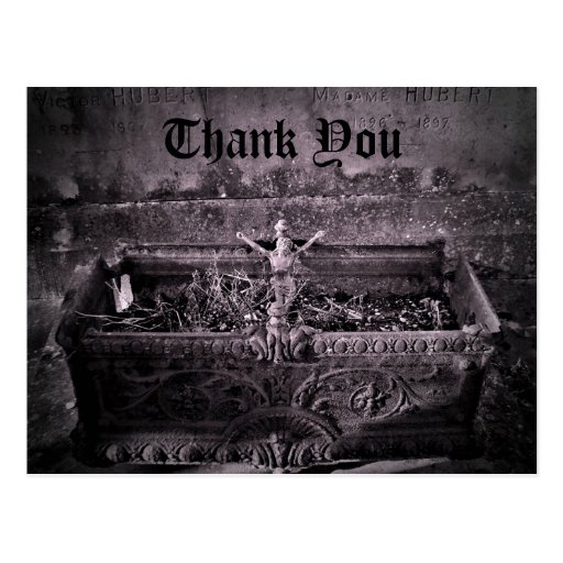 Gothic cemetery Thank You Post Cards