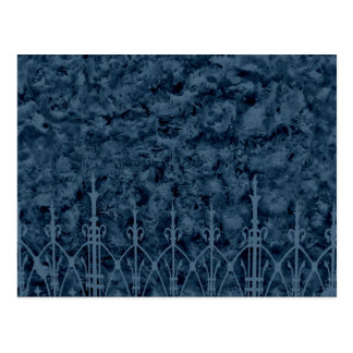 Gothic cemetery wall and fence in blue postcard