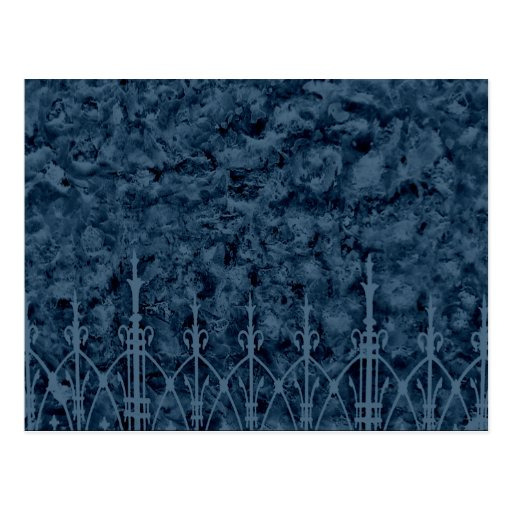 Gothic cemetery wall and fence in blue post cards