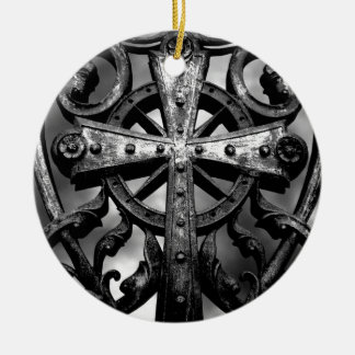 Gothic cemetery wrought iron celtic cross in heart ceramic ornament