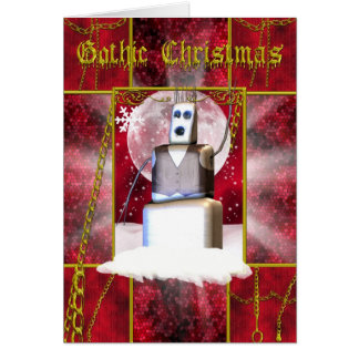 Gothic Christmas card with gothic snoman