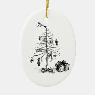 Gothic Christmas Tree Ceramic Ornament