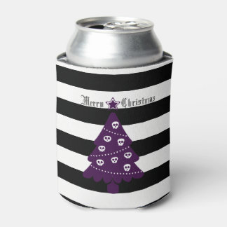 Gothic Christmas Tree With Stripes Can Cooler