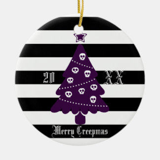 Gothic Christmas Tree With Stripes Ceramic Ornament