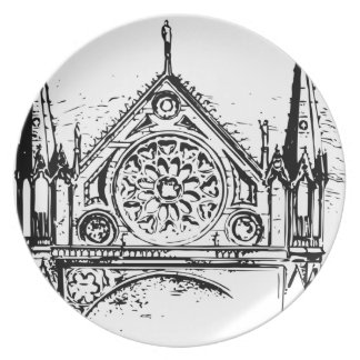 Gothic church painting plate