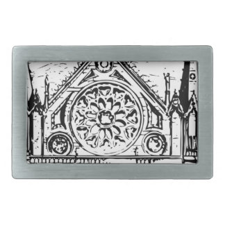 Gothic church painting rectangular belt buckles