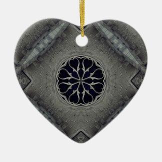 Gothic church window ceramic heart decoration