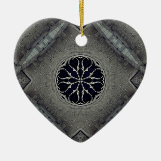 Gothic church window Double-Sided heart ceramic christmas ornament