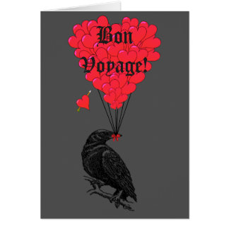 Gothic crow and heart Bon Voyage Card
