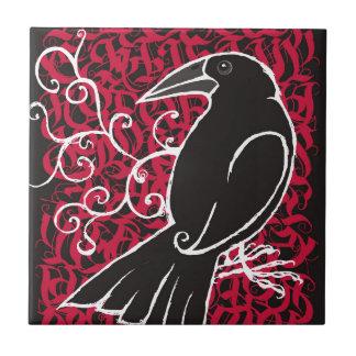 Gothic crow ceramic tile
