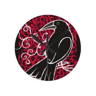 Gothic crow round clock