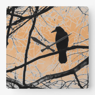 Gothic Crow Square Wall Clock
