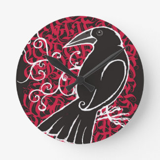 Gothic crow wall clocks