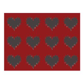 Gothic Curly Edge Black Hearts on Red Postcard