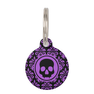 Gothic cute skull pet ID tag