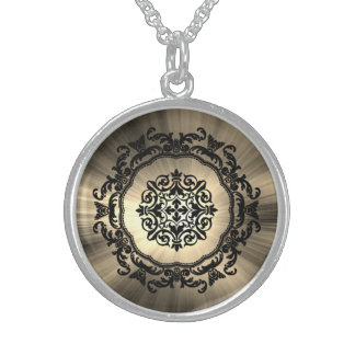 Gothic Damask Design! Sterling Silver Necklace