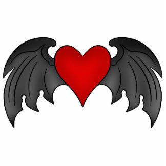 Gothic dark red winged heart magnet photo sculpture