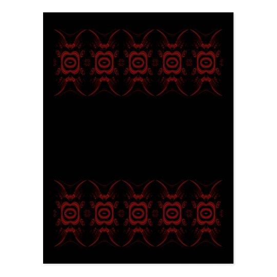 Gothic Deep Red and Black Floral design. Postcard